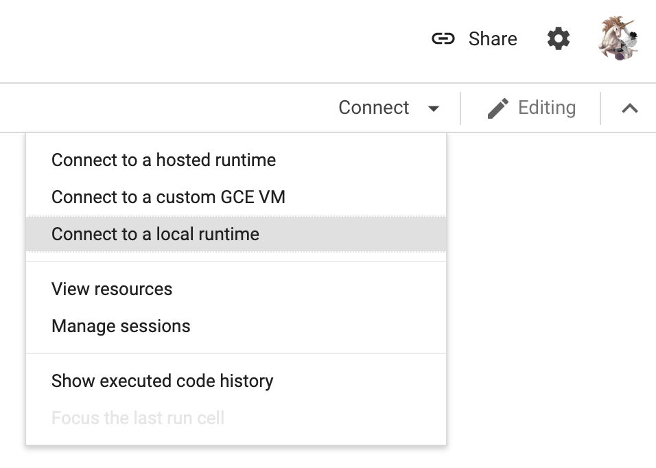 Google Colab Connect to Local Runtime button