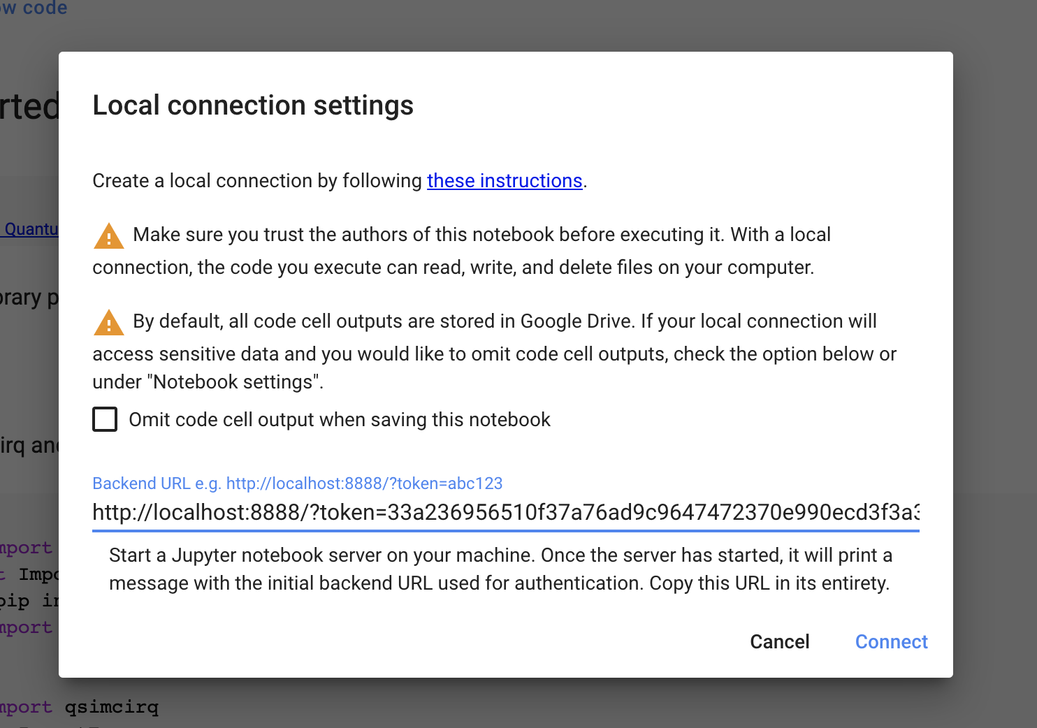 Google Colab Local Runtime connection window